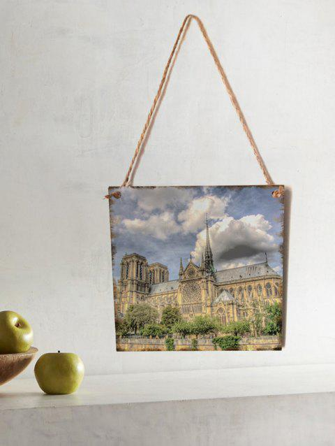Notre Dame Pattern Wall Decor Wooden Hanging Sign - GRAY CLOUD