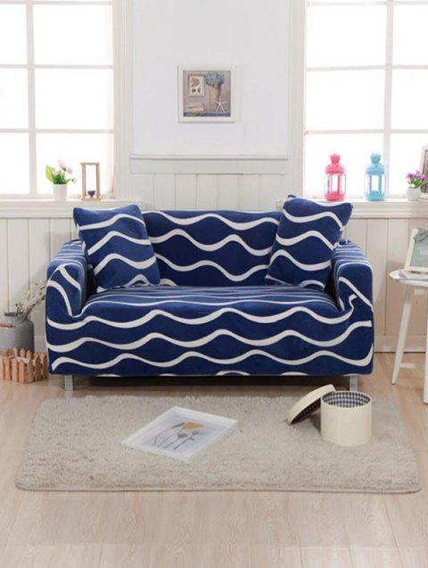 Sea Wave Print Couch Cover - COBALT BLUE TWO SEATS