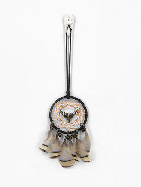 Elk Head Feathers Handmade Mini Dream Catcher - multicolor A