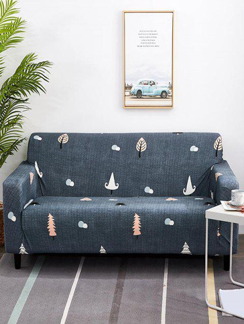 Cartoon Tree Print Couch Cover - MIST BLUE TWO SEATS