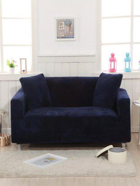 Solid Corduroy Couch Cover - NAVY BLUE TWO SEATS