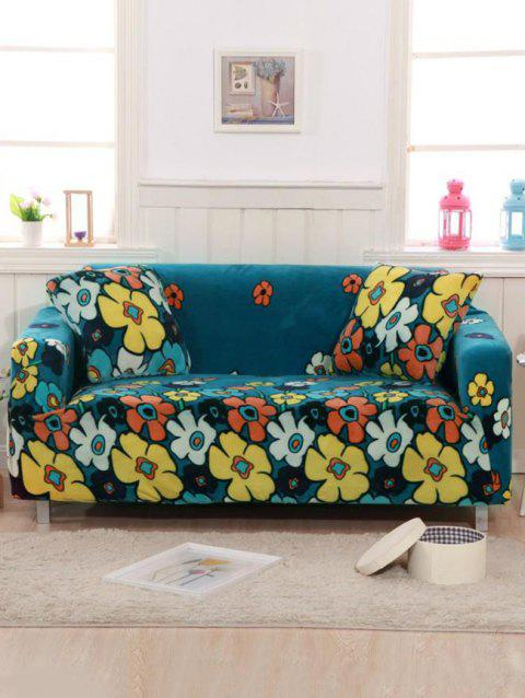 Big Flower Print Couch Cover - BLUEBERRY BLUE TWO SEATS