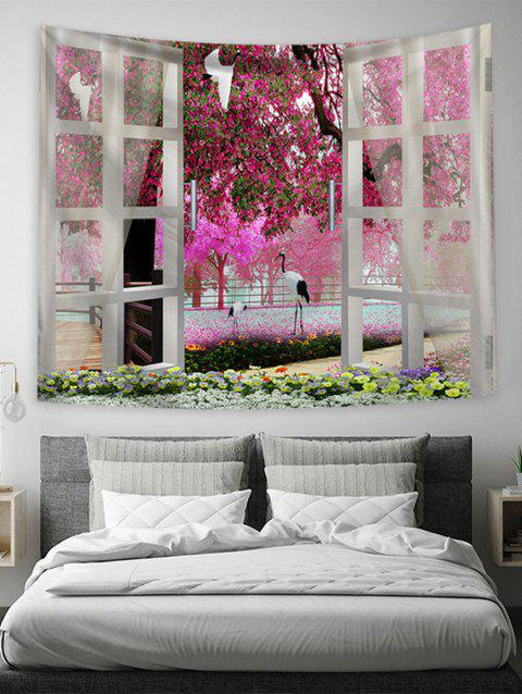 Natural Floral Print Art Decoration Wall Tapestry - BLUSH RED W51 X L59 INCH