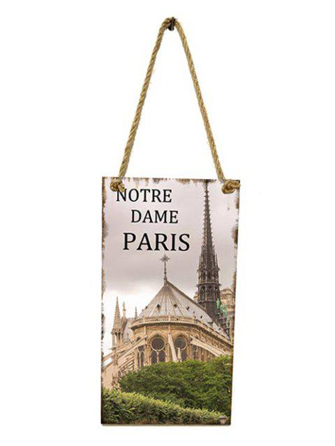 Wall Decor Notre Dame Pattern Wooden Hanging Sign - GRAY CLOUD