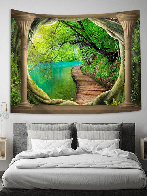 Wood Path Lake Decoration Wall Tapestry - CLOVER GREEN W51 X L59 INCH