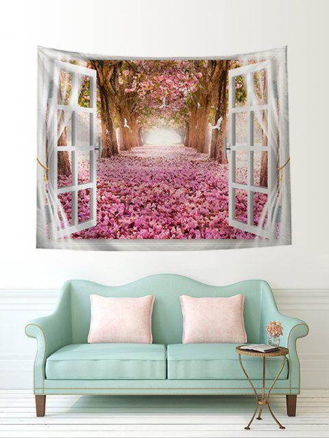 Natural Flower Tree Print Art Decoration Wall Tapestry - ROSE W51 X L59 INCH