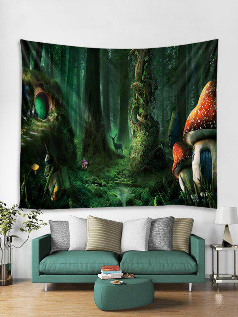 Fairy Tale Forest Printed Wall Tapestry - DEEP GREEN W79 X L59 INCH