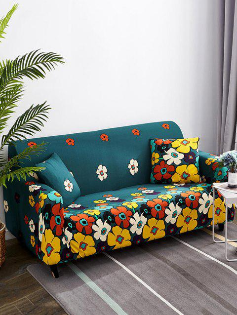 Flower Pattern Print Couch Cover - BLUEBERRY BLUE TWO SEATS