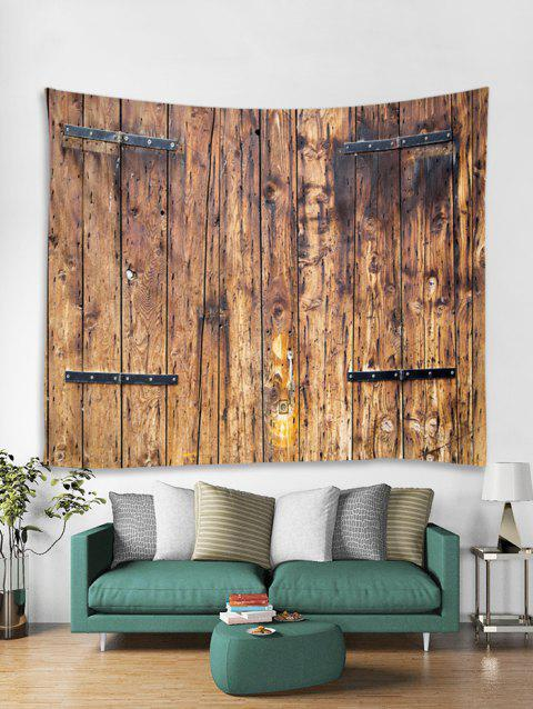 Old Plank Print Art Decoration Wall Tapestry - COFFEE W59 X L59 INCH