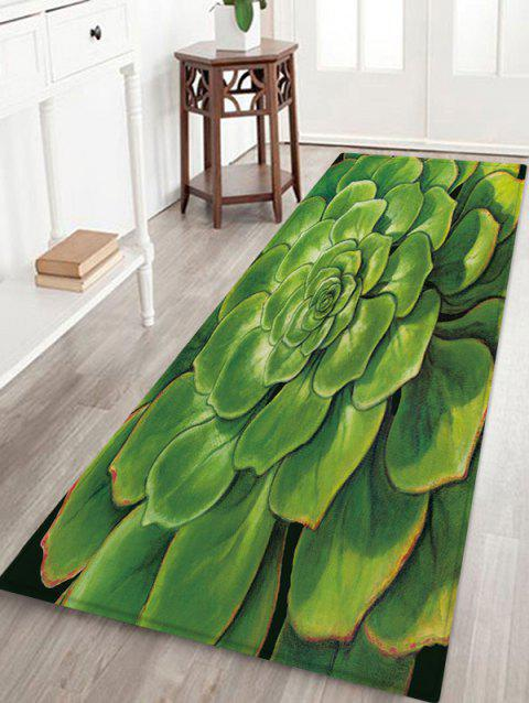 3D Succulent Plant Flannel Area Rug - GREEN ONION W24 X L71 INCH
