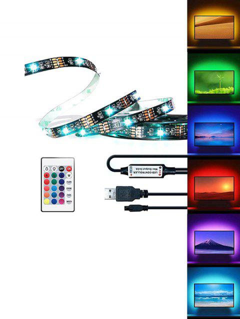 USB RGB Strip Light with Remote Control for TV Computer Background Lighting - BLACK 1M / 30LED