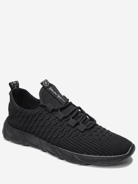 Breathable Knitted Scales Pattern Sneakers - BLACK EU 44