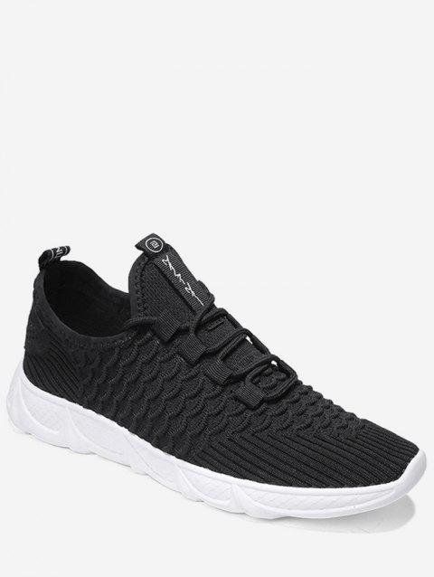 Breathable Knitted Scales Pattern Sneakers - NATURAL BLACK EU 44