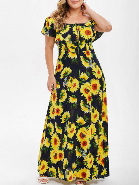 Plus Size Sunflower Print Flounce Dress - DARK SLATE BLUE 3X