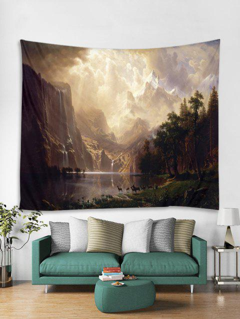 Mountain Sunset Print Art Decoration Wall Tapestry - COFFEE W59 X L59 INCH