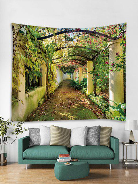 Flower Tree Path Print Art Decoration Wall Tapestry - FERN GREEN W59 X L59 INCH