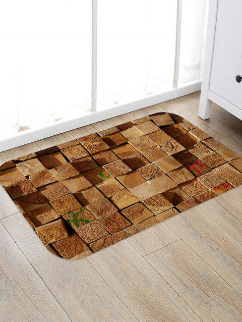 3D Print Wood Block Floor Rug - CAMEL BROWN W20 X L31.5 INCH