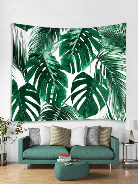 Jungle Leaf Print Art Decoration Wall Tapestry - DEEP GREEN W59 X L59 INCH