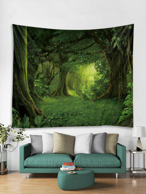 Fairytale Forest Print Art Decoration Wall Tapestry - DEEP GREEN W59 X L51 INCH