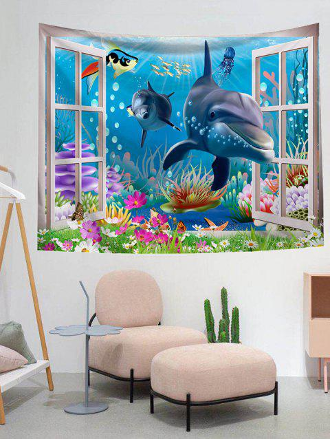 Dolphin Pattern Design Wall Tapestry - DODGER BLUE W59 X L79 INCH