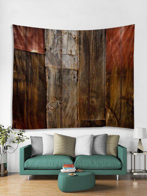 Old Plank Pattern Print Art Decoration Wall Tapestry - COFFEE W79 X L71 INCH