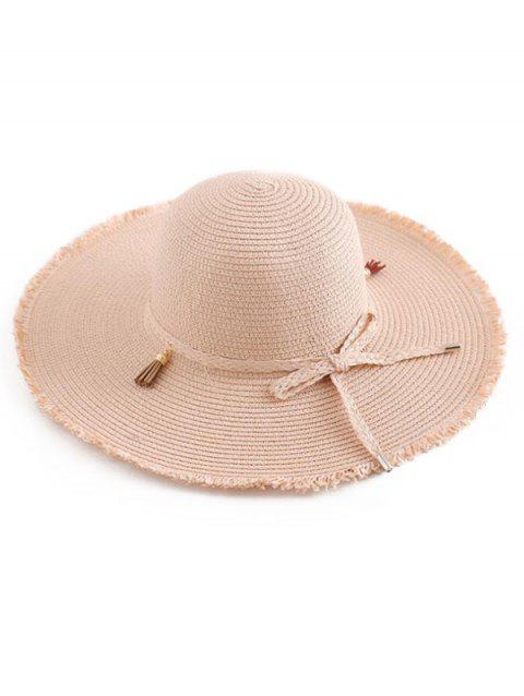 Tassel Bowknot Straw Sun Hat - ORANGE PINK