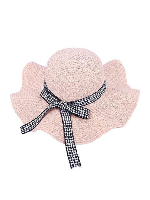 Houndstooth Bow Wavy Straw Hat - PINK