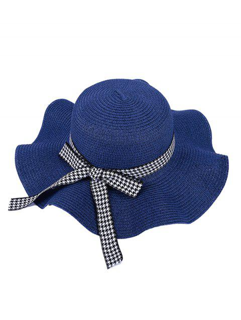 Houndstooth Bow Wavy Straw Hat - CADETBLUE