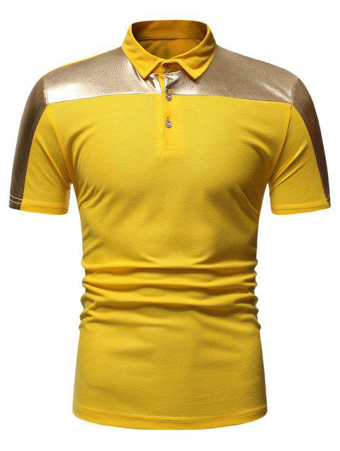 Button Decoration Leisure Short Sleeves T-shirt - YELLOW M