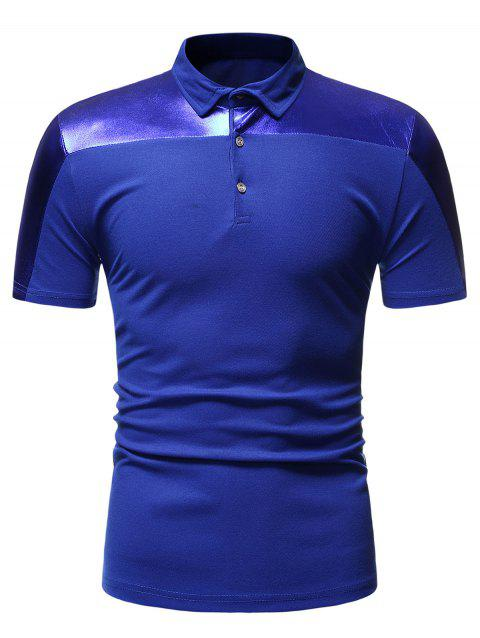 Button Decoration Leisure Short Sleeves T-shirt - BLUE M