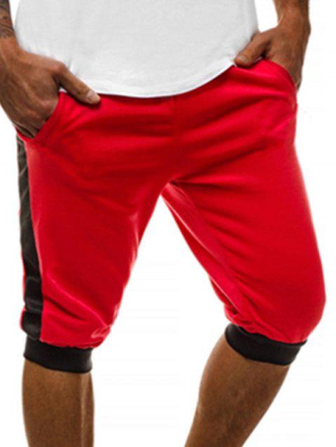 Casual Color Block Design Shorts - RED M
