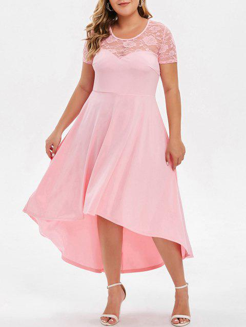 Plus Size Lace Insert High Low Party Dress - LIGHT PINK 3X