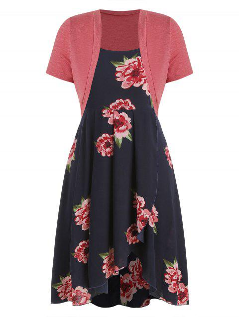 Plus Size Floral Print Dress with Solid T Shirt - DARK SLATE BLUE 5X