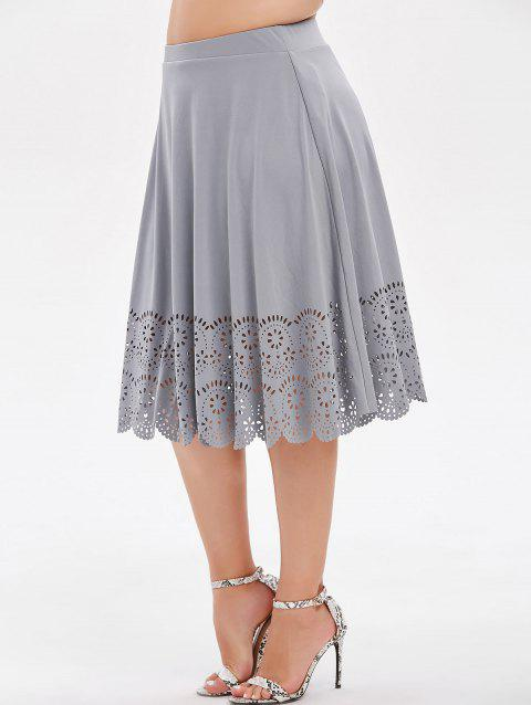 Plus Size High Rise Laser Cut Skirt - GRAY 5X