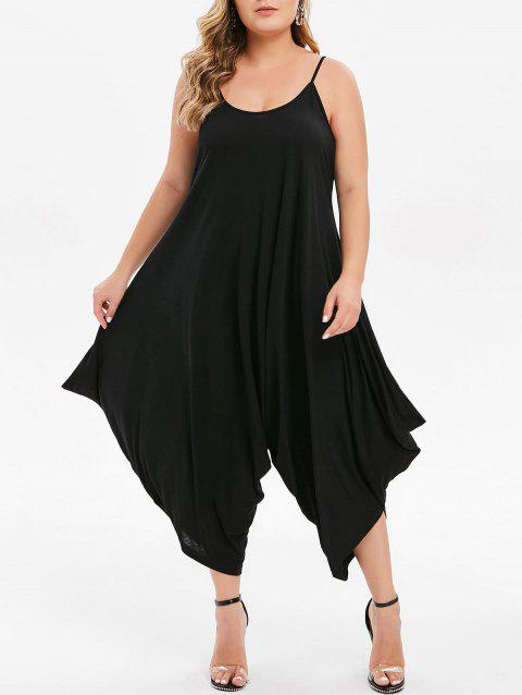 Plus Size Cropped Cami Baggy Jumpsuit - BLACK 2X