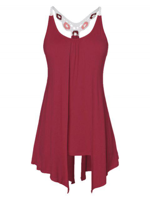 Plus Size Lace Insert Racerback Tank Top - RED WINE 4X