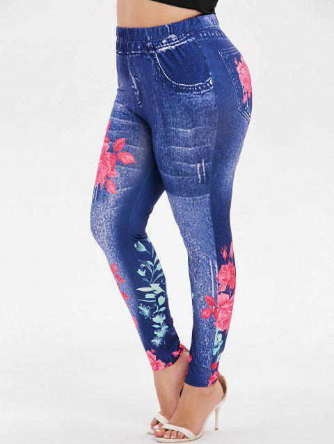 Floral High Waisted Plus Size Leggings - BLUE L