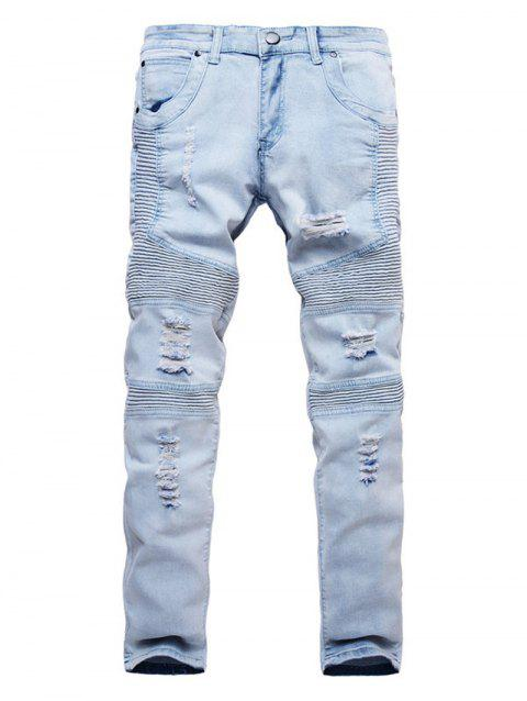 Ripped Design Casual Style Jeans - JEANS BLUE 38