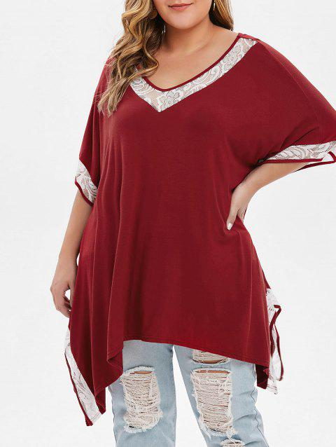 Plus Size Asymmetrical Lace Trim T-shirt - RED WINE 5X
