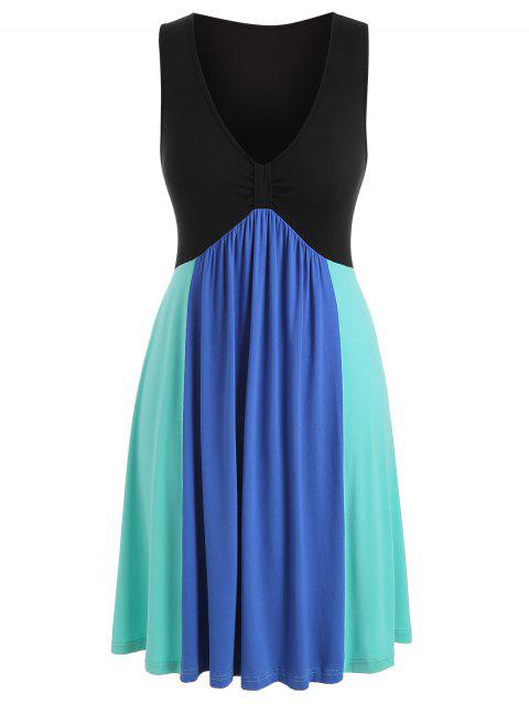 Plus Size Plunging Neck Fit And Flare Dress - multicolor 4X