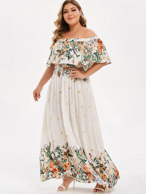22% OFF] 2019 Plus Size Floral Print Off The Shoulder Maxi Dress In ...