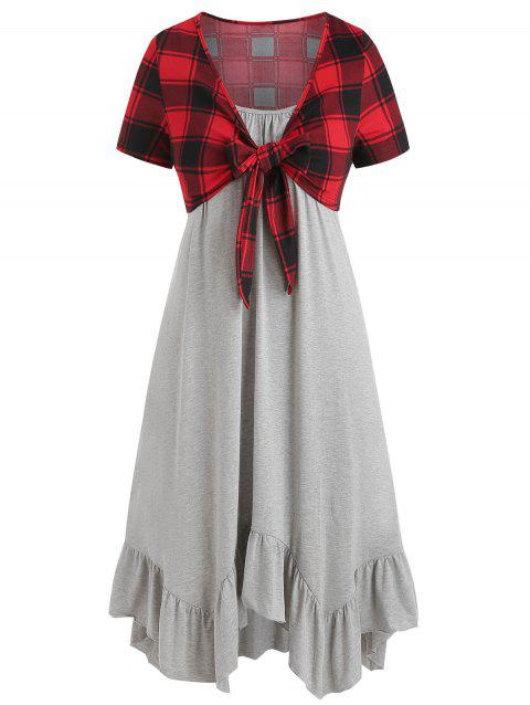 Plus Size Solid Cami Dress with Checked T Shirt - GRAY GOOSE 4X