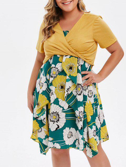 Plus Size Floral Print Layered Cami Dress With Criss Cross Crop Top - BEE YELLOW L
