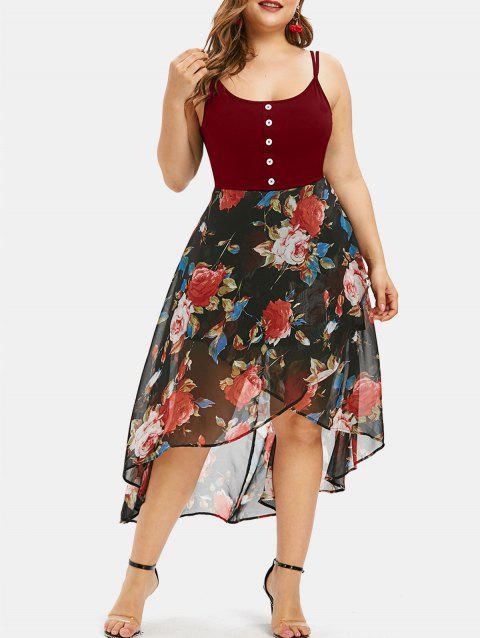 Plus Size Floral Overlay High Low Dress - RED WINE 3X