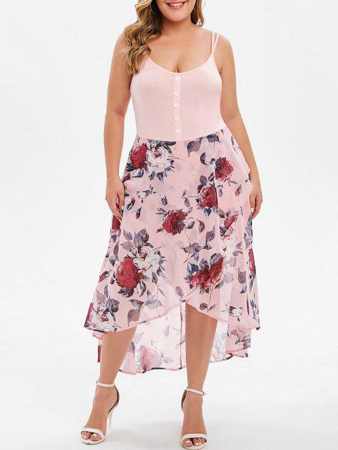 Plus Size Floral Overlay High Low Dress - PINK 3X