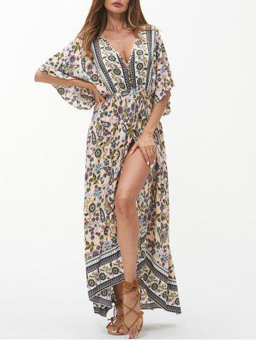 c6df99f2d5f Flower Plunging Batwing Sleeve Slit Dress