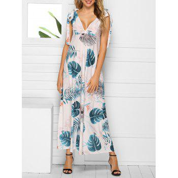 Palm Flower Tie Shoulder Plunging Dress