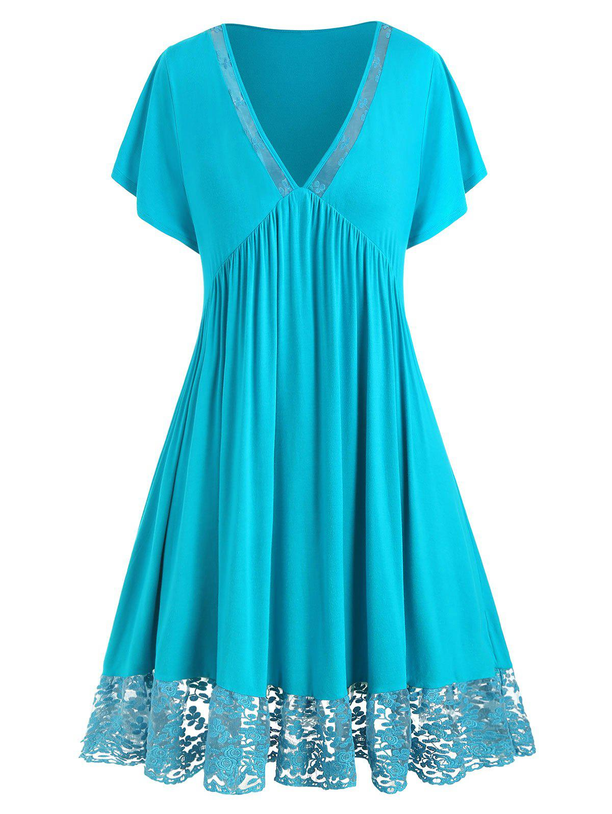 Plus Size Lace Insert Plunging Neck Solid Dress - TURQUOISE 1X