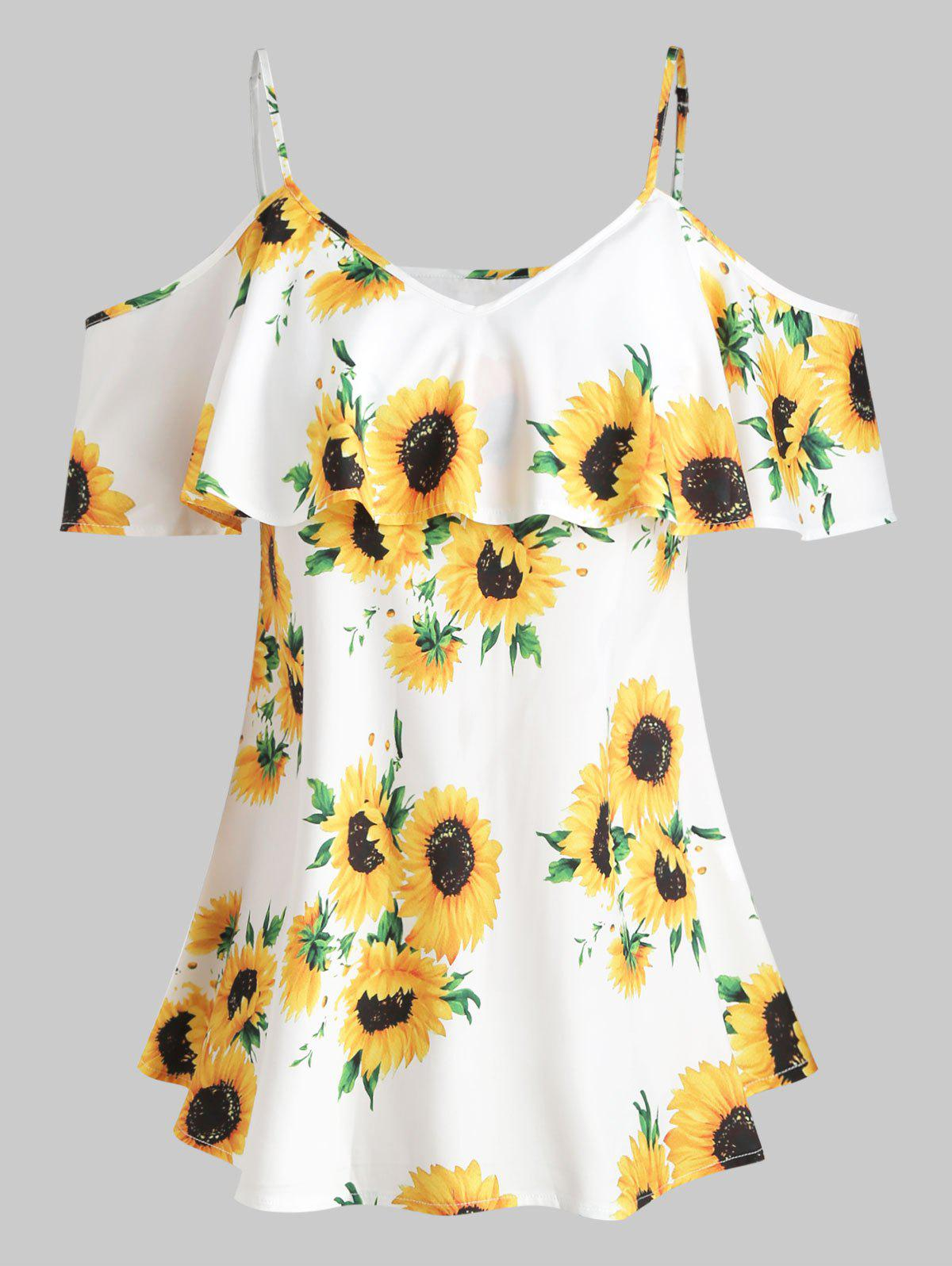 Plus Size Cold Shoulder Sunflower Print Blouse - WHITE 5X