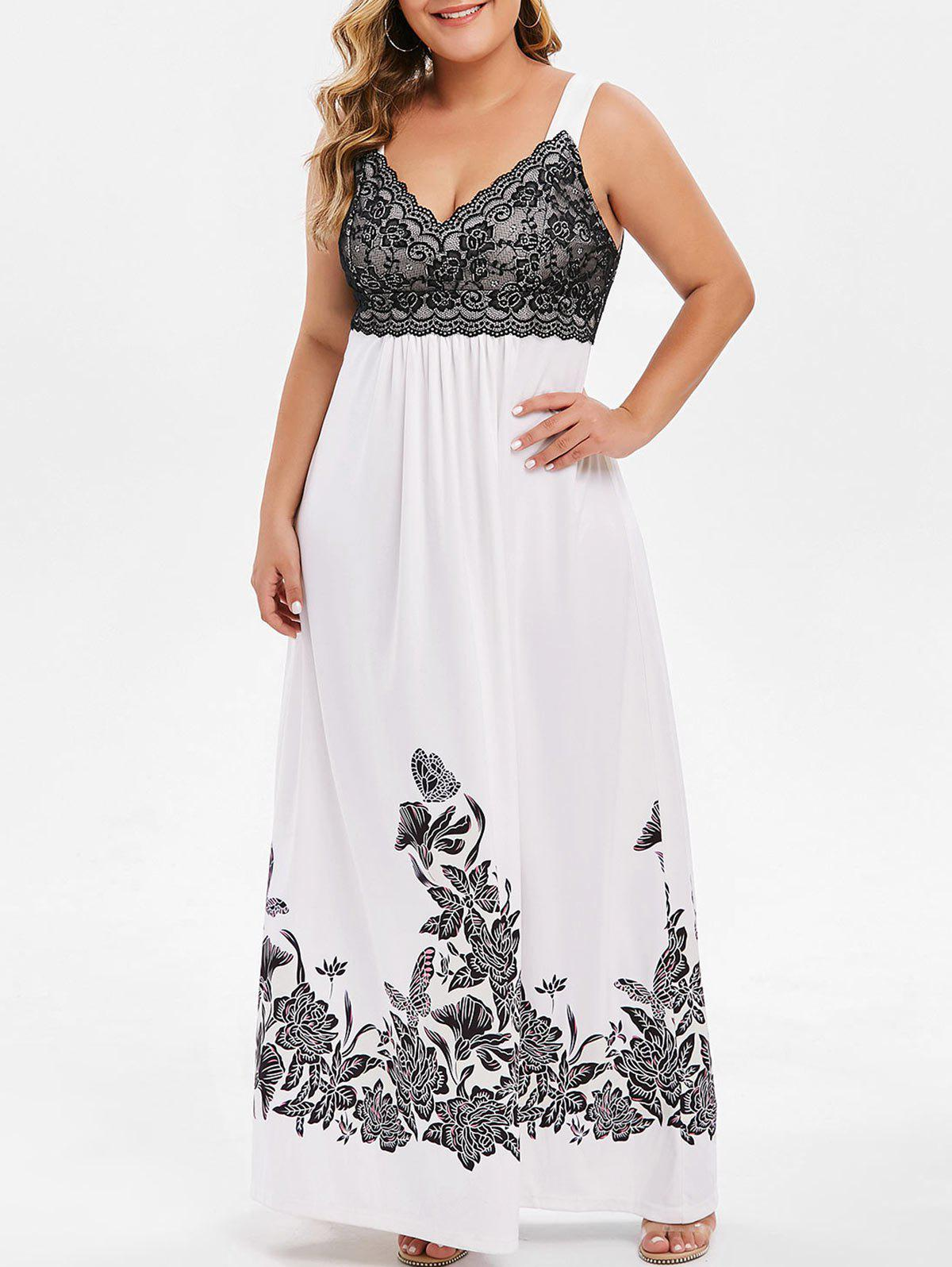 Plus Size Lace Insert Floral Print Maxi Dress - WHITE 4X